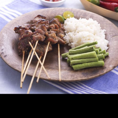 Sticky Grilled Pork Skewers Served With Glutinous Rice