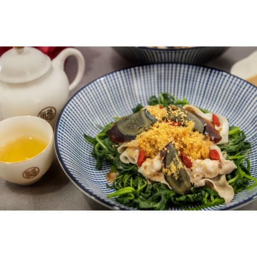 Chilled Pork Shabu Shabu with Spinach & Roasted Sesame Salad Dressing